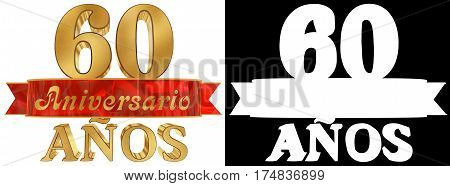 Golden digit sixty and the word of the year. Translated from the Spanish. 3D illustration