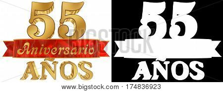 Golden digit fifty five and the word of the year. Translated from the Spanish. 3D illustration