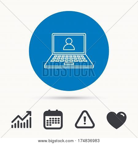 Webinar icon. Chat video sign. Online education symbol. Calendar, attention sign and growth chart. Button with web icon. Vector