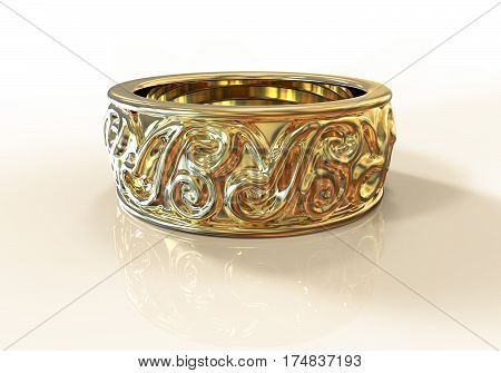 Gold wedding ring with beautiful ornament on a plane with reflections, 3D illustration