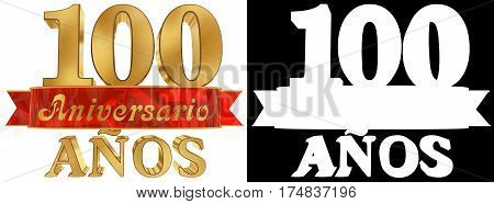 Golden digit one hundred and the word of the year. Translated from the Spanish. 3D illustration