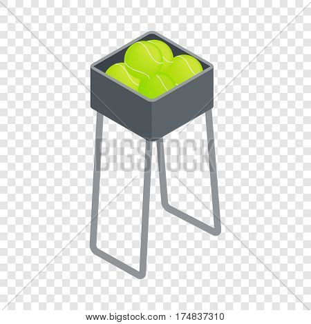 Basket for keep tennis balls isometric icon 3d on a transparent background vector illustration