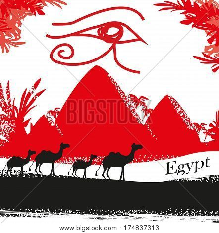Egypt symbols and Pyramids card , vector illustratrion