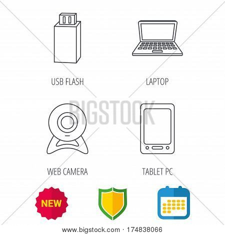 Web camera, USB flash and notebook laptop icons. Tablet PC linear sign. Shield protection, calendar and new tag web icons. Vector
