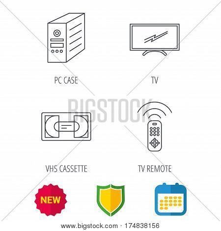 TV remote, VHS cassette and PC case icons. Widescreen TV linear sign. Shield protection, calendar and new tag web icons. Vector
