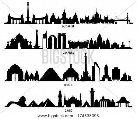 Skyline With Historic Architecture, Mexico, Budapest, Jakarta And Cairo