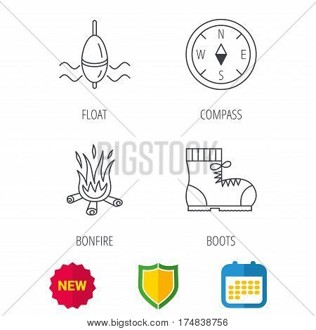 Bonfire, fishing float and hiking boots icons. Compass linear sign. Shield protection, calendar and new tag web icons. Vector