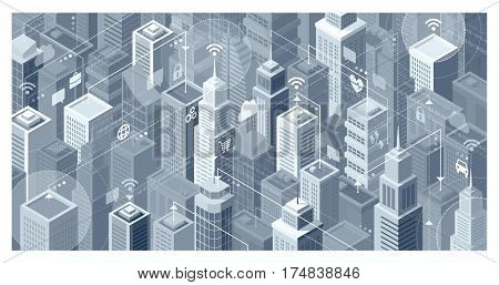 Smart city with modern skyscrapers: they are connecting to the internet network sharing data and services online