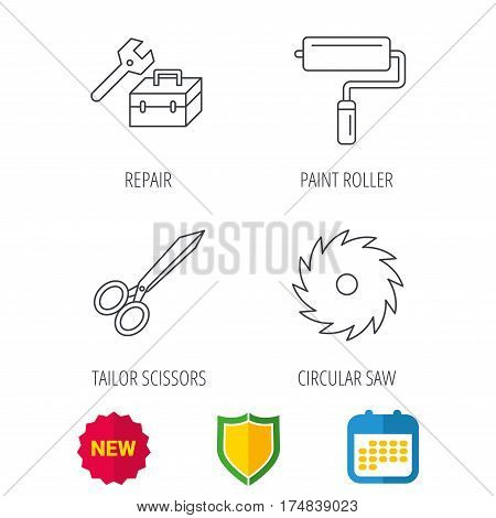 Scissors, paint roller and repair tools icons. Circular saw linear sign. Shield protection, calendar and new tag web icons. Vector