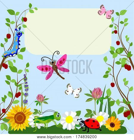 Funny cartoon insects with a place for an inscription on a background of green grass and flowers.