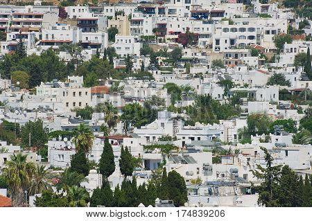 BODRUM, TURKEY - AUGUST 15, 2009: View to the residential area buildings in Bodrum, Turkey.