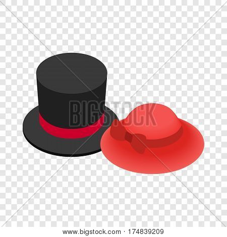 Top hat with red ribbon and red female hat isometric icon 3d on a transparent background vector illustration