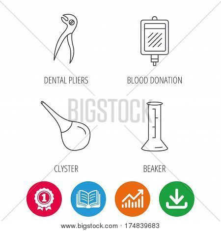 Beaker, blood and dental pliers icons. Clyster linear sign. Award medal, growth chart and opened book web icons. Download arrow. Vector