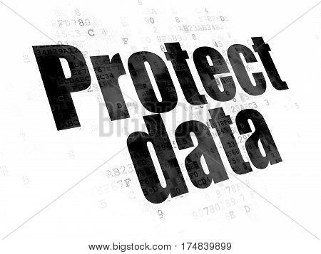 Protection concept: Pixelated black text Protect Data on Digital background