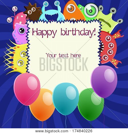 Monster party card with funny monsters, balloons and space for your text. Greeting card on a dark blue background for invitations for a birthday, childrens parties, Halloween and other design needs. Vector illustration