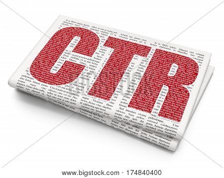 Business concept: Pixelated red text CTR on Newspaper background, 3D rendering