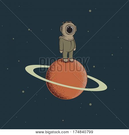 Spaceman like a diver standing on the red planet.Childish vector illustration.Retro character design