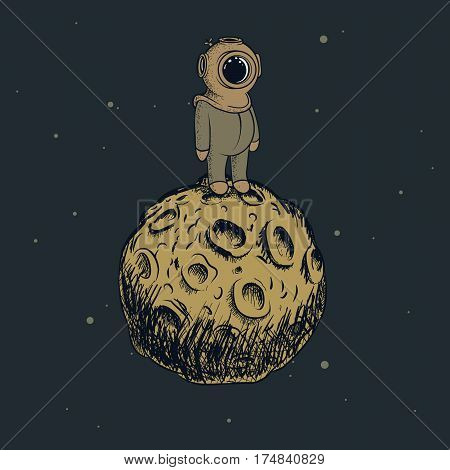 Cute diver like a astronaut standing on the moon and looking into the infinity.Childish vector illustration.Retro character design