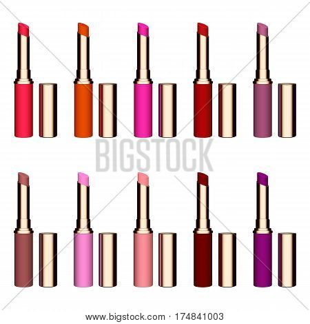 Set of color lipsticks. Red lipstick, pink lipstick, orange lipstick, wine lipstick.Red lipstick set isolated on white background, RGB vector illustration.