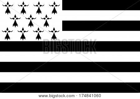 Flag of Brittany is one of the 18 regions of France. The regional capital is Rennes. Vector illustration