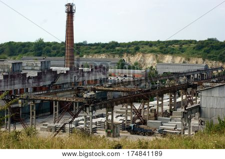 Photo shows the old plant of reinforced concrete structures
