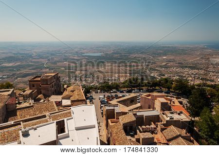 View From Hill Of The Erice City, Province Of Trapani. Sicily, Italy