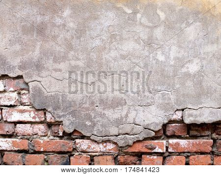 Damaged Brick Wall With Peeling Plaster Background For Design