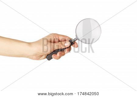 Magnifying Glass In The Hand, Isolated