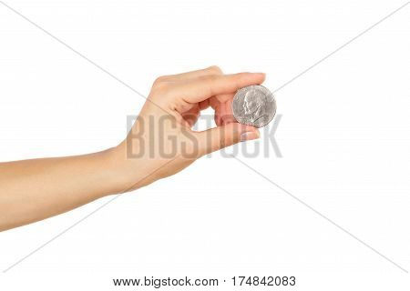Dollar Coin In The Woman's Hand, Isolated