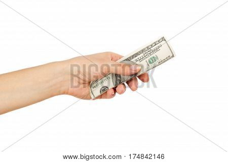 One Hundred Dollars In The Woman's Hand, Isolated