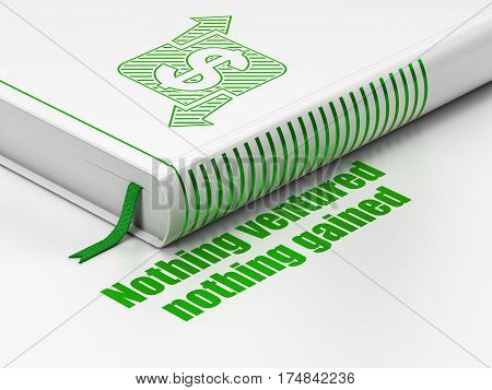 Business concept: closed book with Green Finance icon and text Nothing ventured Nothing gained on floor, white background, 3D rendering