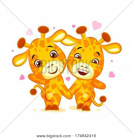 Vector Stock Illustration isolated Emoji have date lets go out character cartoon friends Giraffe sticker emoticon for site, info graphics, video, animation, website, mail, newsletters, reports, comic