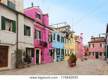 Bright colorful facades retro houses street architecture