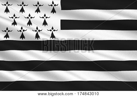 Flag of Brittany is one of the 18 regions of France. The regional capital is Rennes. 3D illustration