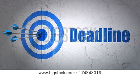 Success business concept: arrows hitting the center of target, Blue Deadline on wall background, 3D rendering