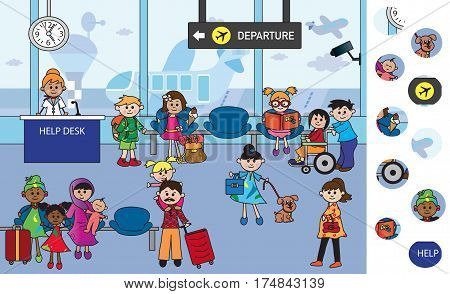 visual game for children with airport interior
