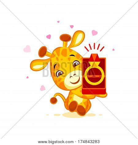 Vector Stock Illustration isolated Emoji marry me character cartoon Giraffe box with a ring sticker emoticon for site, info graphics, video, animation, website, mail, newsletters, reports, comic