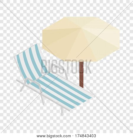 Sun lounger and parasol isometric icon 3d on a transparent background vector illustration