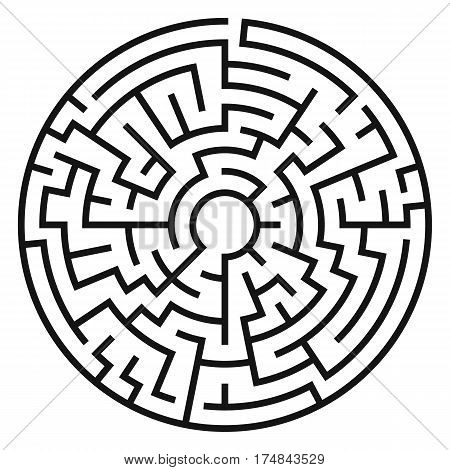 Circle Maze. Labyrinth with Entry and Exit. Transportation and Logistics Concept. Vector Illustration.