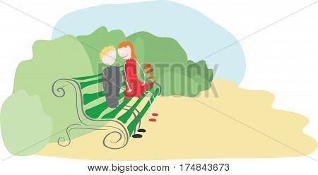 couple in love with a bouquet of flowers sitting on a bench in an overgrown part of the park / meeting in a secluded place