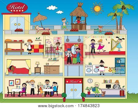 illustration of interior of hotel with happy people