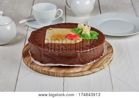 Delicious Chocolate Cake With Marzipan Rose
