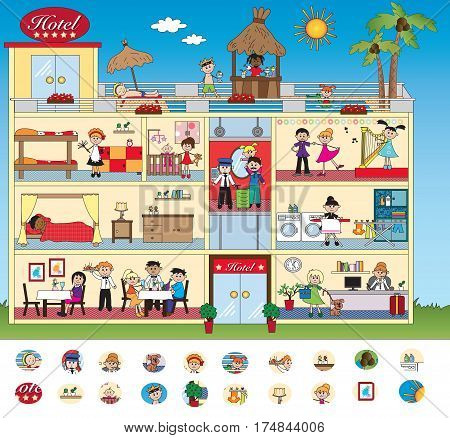 game for children: visual game with interior of hotel