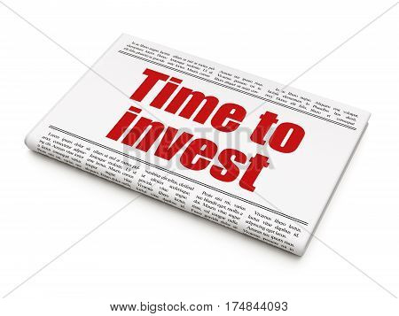 Timeline concept: newspaper headline Time To Invest on White background, 3D rendering