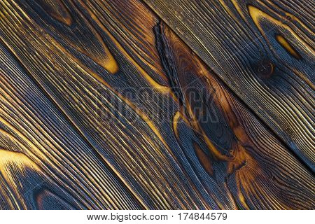Burned wood board texture background, woodgrain texture