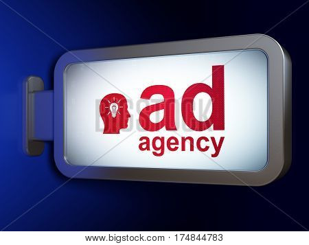 Marketing concept: Ad Agency and Head With Light Bulb on advertising billboard background, 3D rendering