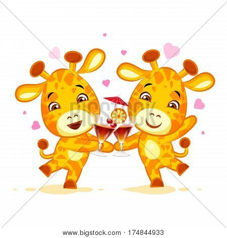 Vector Stock Illustration isolated Emoji let have drink party character cartoon friends Giraffe sticker emoticon for site, info graphics, video, animation, website, mail, newsletters, reports, comic