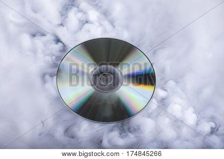 Compact disk. Sound cloud. Conceptual image. Future