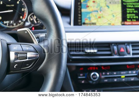 Modern car interior with navigation,Screen multimedia system