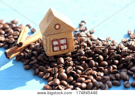 layout wooden house on the hill of beans / location for fans of coffee
